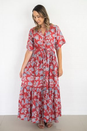 DELIAH MAXI DRESS IN RED