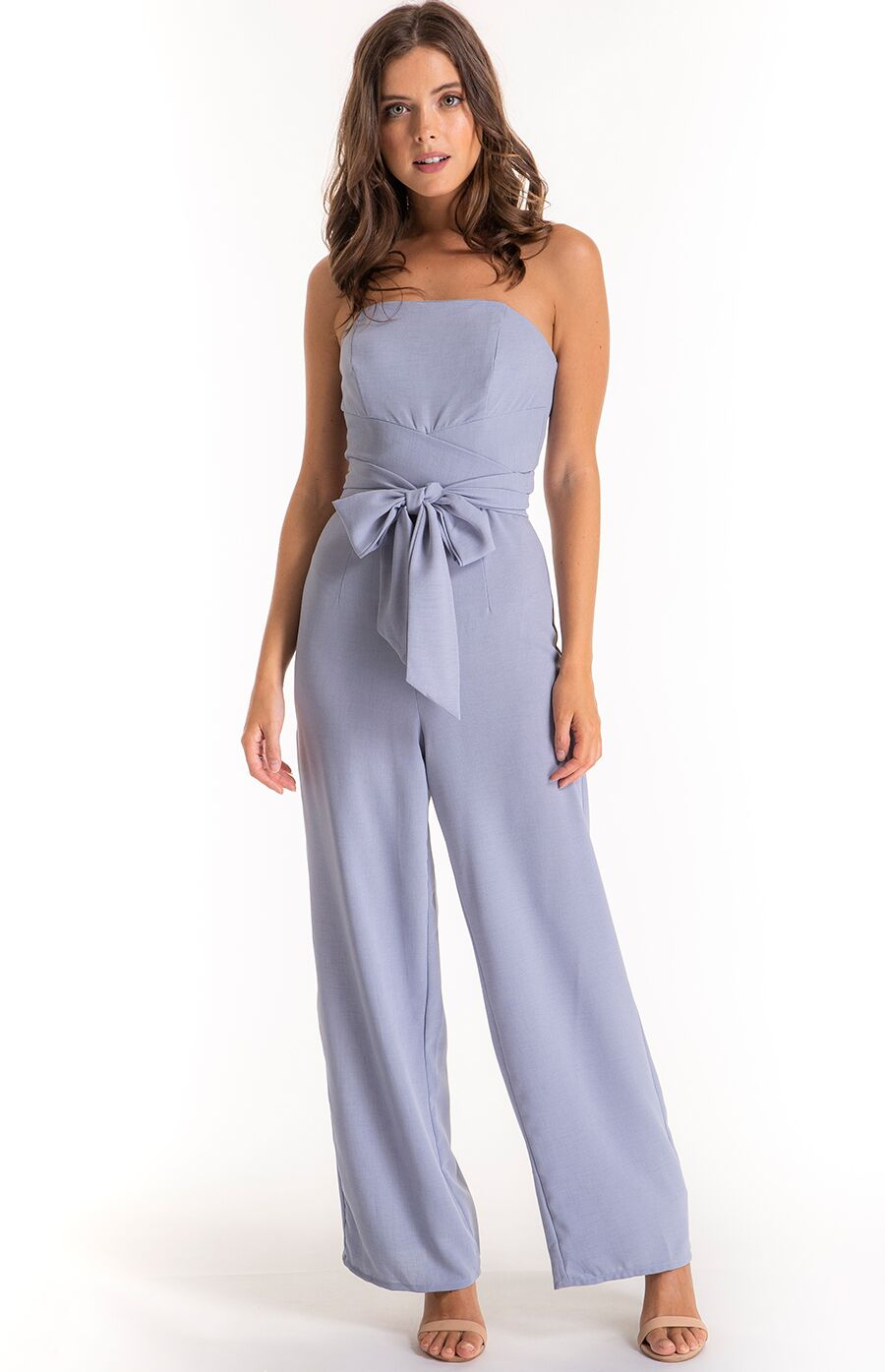 6604f3445510 Tiffany Strapless Wrap Style Belt Jumpsuit in Grey/Blue - The Dress Emporium