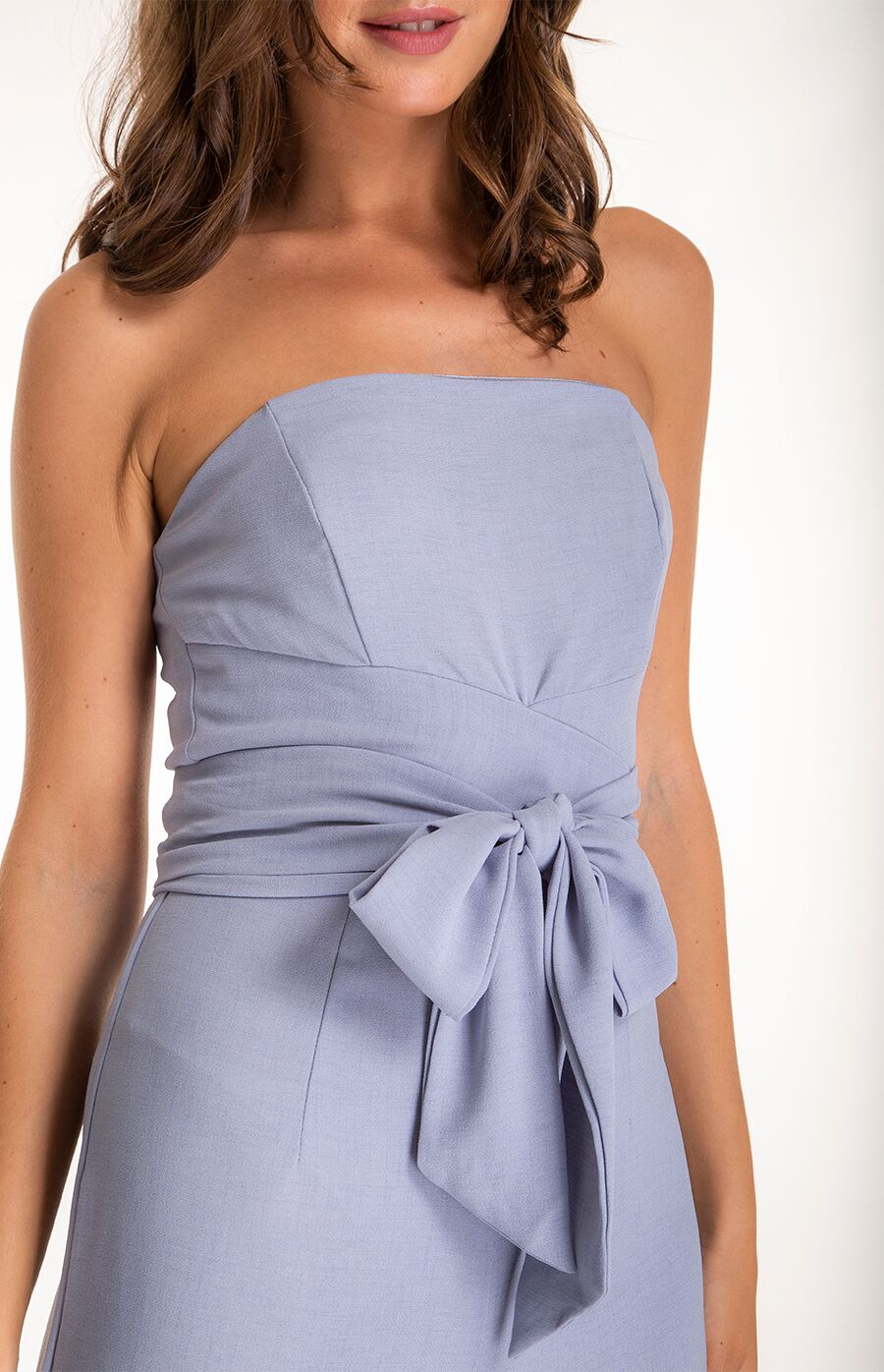 53090a585f6e Tiffany Strapless Wrap Style Belt Jumpsuit in Grey/Blue - The Dress ...