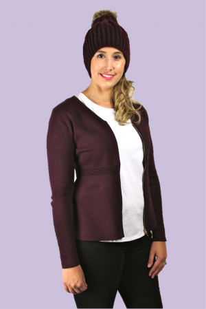 Isabella Cardigan in Plum