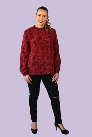 Driftaway Blouse In Burgundy