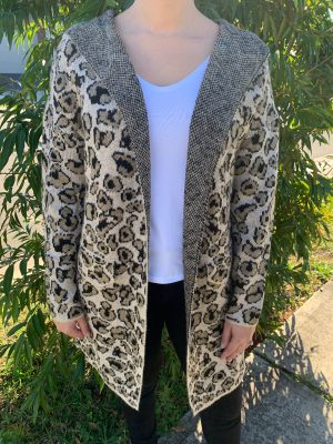 Electra Hooded Cardigan in Leopard