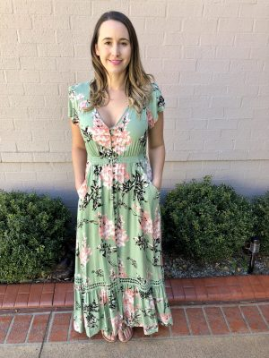 Breanna Boho Maxi Dress in Mint Floral