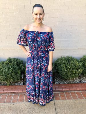 Bluebell Floral Off the Shoulder Maxi Dress