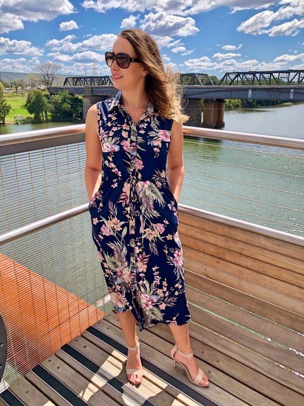 Everly Dress in Navy Floral
