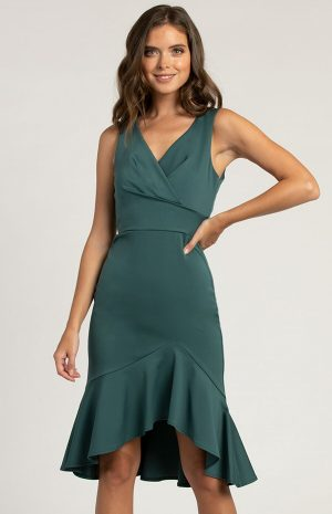 Luxe Classic High Low Dress in Emerald