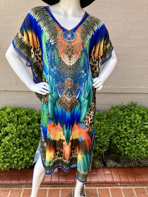 Stella Summer Kaftan in Blue/Orange