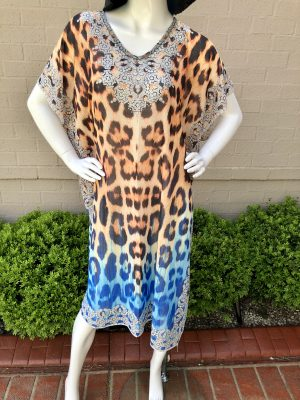 Stella Summer Kaftan in Orange Leopard