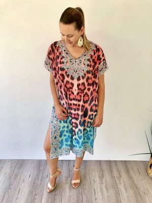 Stella Summer Kaftan in Red Leopard