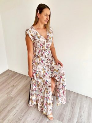 Breanna Boho Maxi Dress in White Floral