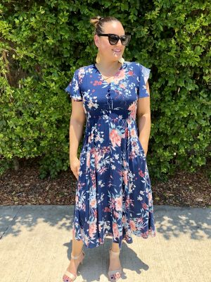 Moana Dress in Blue Floral