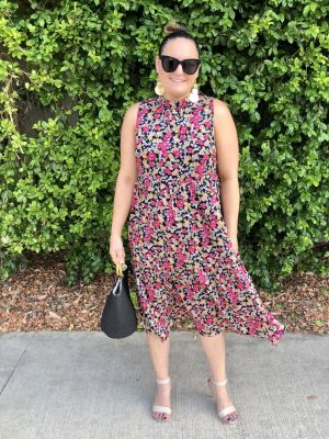 Milah Dress in Pink & Black Floral