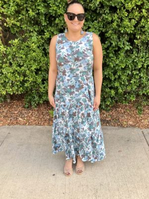 Layla Maxi Dress in Blue Floral